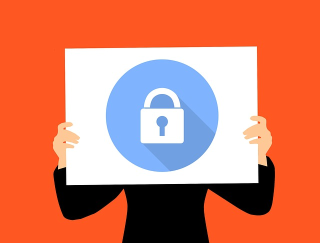 Vector illustration of lock on a sign, indicating privacy